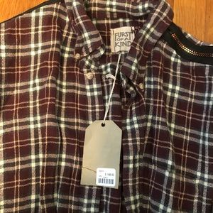 Furst of a Kind Tops - NWT LF Furst of a Kind Flannel with Zipper Trim